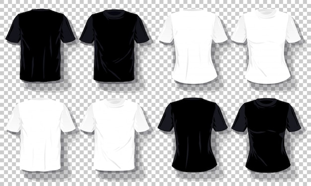 Modello bianco nero delle magliette insieme isolato, magliette disegnate a mano trasparenti