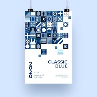 Modello blu classico astratto del manifesto