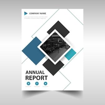 Modello blu copertina creativa del rapporto annuale blu