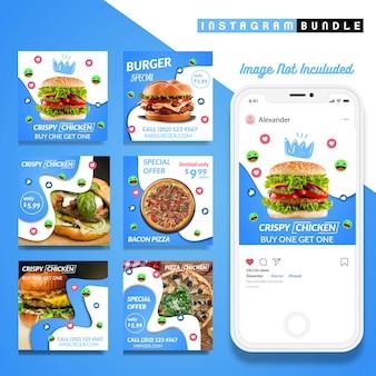 Modello blu dell'alimento della posta di instagram