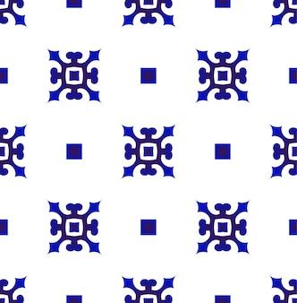 Modello blu e bianco giapponese e cinese senza cuciture, design in ceramica porcellana