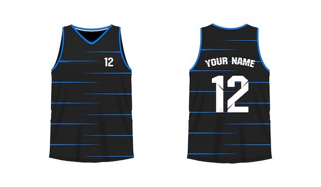 Modello blu e nero della maglietta pallacanestro o di calcio per il club della squadra su fondo bianco. jersey sport,