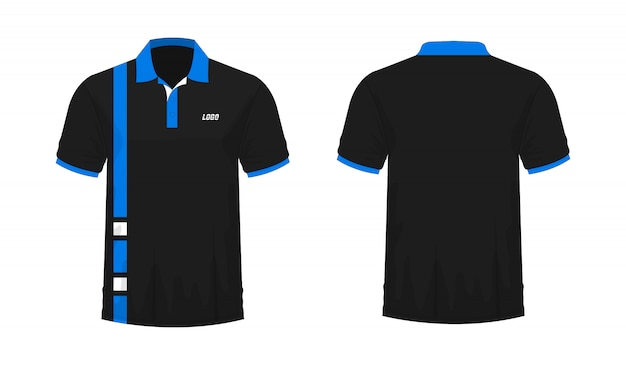 Modello blu e nero di polo della maglietta per il disegno su priorità bassa bianca.