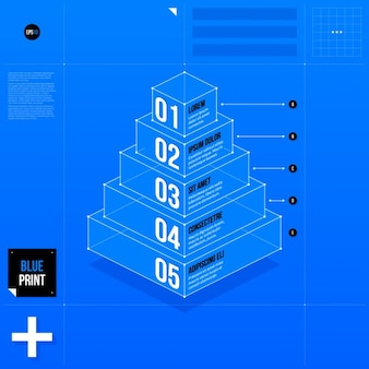 Modello blu infografica piramidale