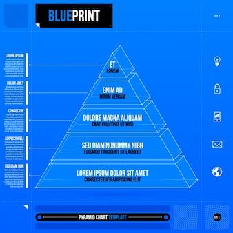 Modello blu infografica piramide