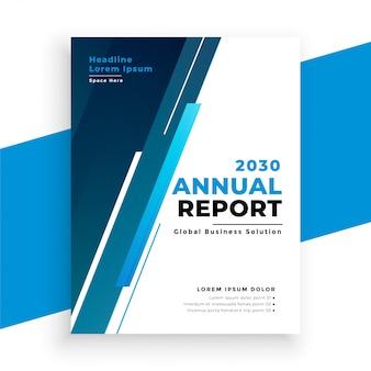Modello blu moderno dell'opuscolo del rapporto annuale di affari