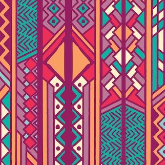 Modello bohemien etnico colorato tribale con elementi geometrici, panno di fango africano, design tribale
