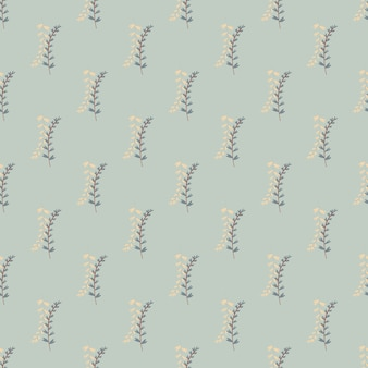 Modello botanico senza soluzione di continuità con rami su sfondo blu pastello. elementi di erbe nei colori blu e beige.