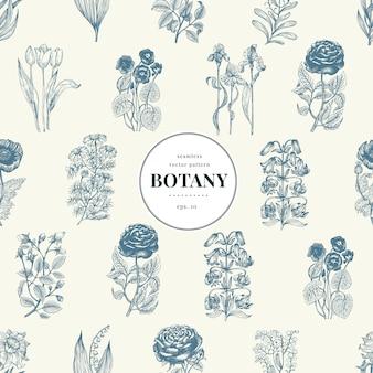 Modello botanico senza soluzione di continuità in stile vintage.