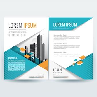 Modello brochure aziendale con forme geometriche a teal e orange