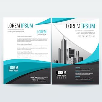 Modello brochure aziendale con forme ondulate in teal