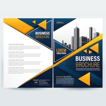 Modello brochure aziendale con forme triangolari blu e arancione