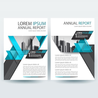 Modello brochure aziendale con teal e grigio geometrico