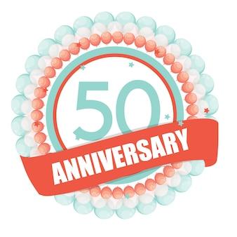 Modello carino 50 anni anniversario con palloncini e nastro vect