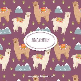 Modello carino alpaca con la natura