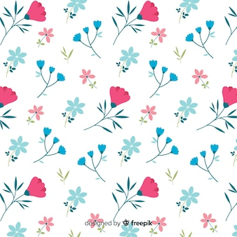 Modello carino di fiori su sfondo bianco
