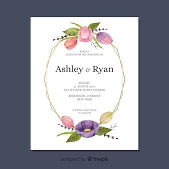 Modello carino floreale carta di nozze