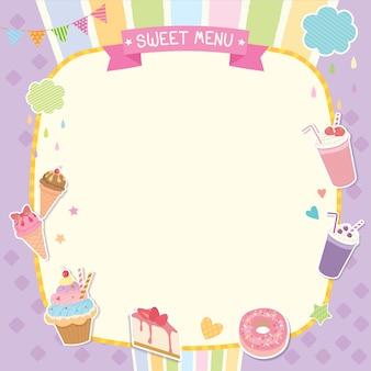 Modello carino menu dolce
