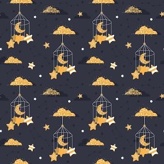 Modello carino notte senza soluzione di continuità con le stelle, la luna