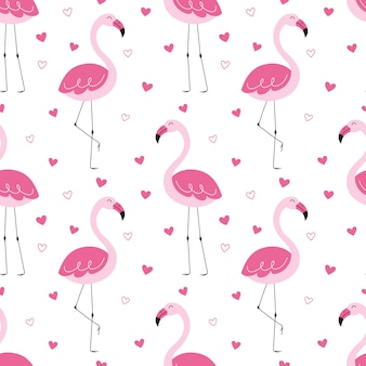 Modello carino senza soluzione di continuità, fenicotteri rosa, amore, cuore, bacio.