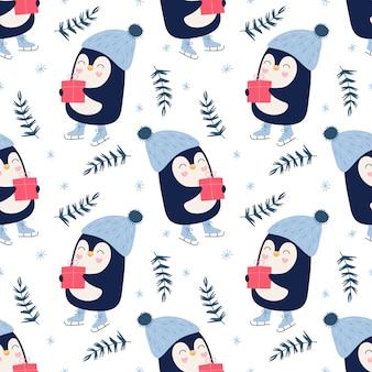 Modello carino senza soluzione di continuità, pinguini con regali, fiocchi di neve, inverno, pattini da ghiaccio.