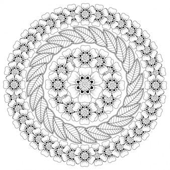 Modello circolare a forma di mandala con fiore per henné, mehndi, tatuaggio, decorazione. decorazione floreale mehndi in stile etnico orientale, indiano.
