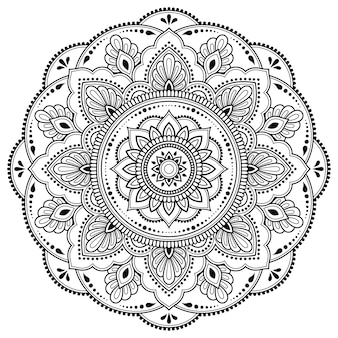 Modello circolare a forma di mandala per henné, mehndi, tatuaggio, decorazione. ornamento decorativo cornice in stile etnico orientale. pagina del libro da colorare