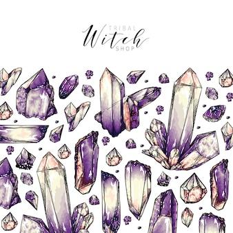Modello cluster di cristallo disegnato a mano