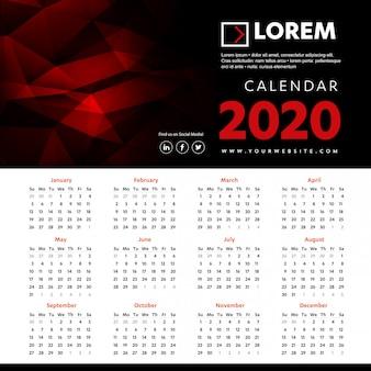 Modello colorato di calendario da parete 2020