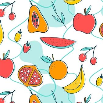 Modello colorato di frutti tropicali