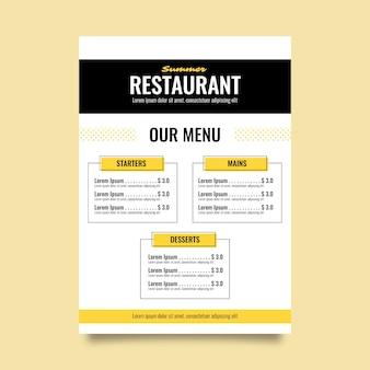 Modello colorato di menu del ristorante