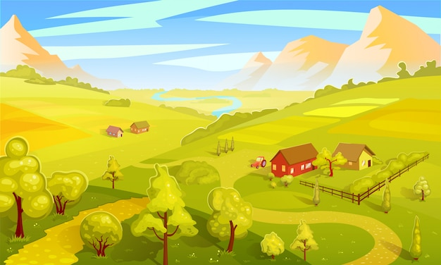Modello colorato paesaggio estivo