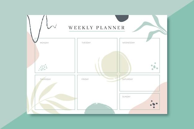 Modello colorato planner settimanale