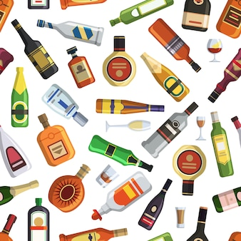 Modello con bottiglie e bicchieri alcolici colorati