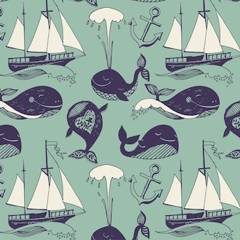 Modello con motivi marini. yacht, balene divertenti, spensierate giornate soleggiate.