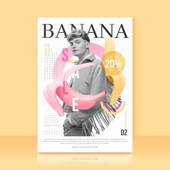 Modello con offerta di vendita di banane