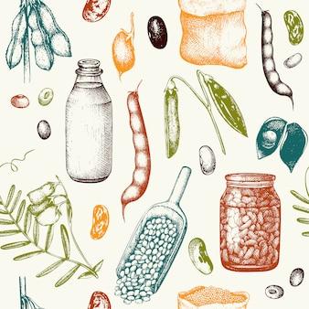 Modello con piante di leguminose disegnate a mano. sfondo vintage a colori