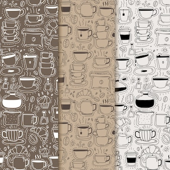 Modello con sfondo di caffè doodle disegnato a mano