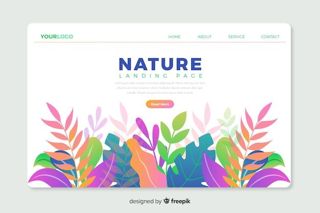Modello corporativo di landing page con design a tema natura