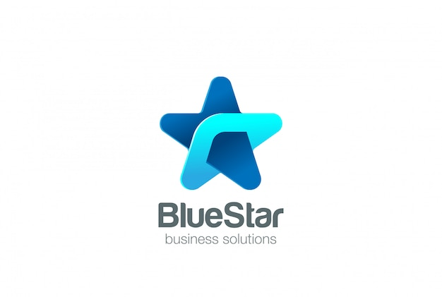 Modello corporativo di progettazione dell'estratto di logo della stella blu. concetto del logotype della rete di tecnologia di affari sociali