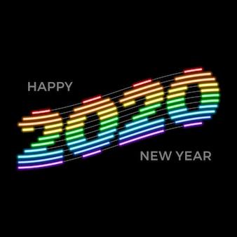 Modello creativo al neon arcobaleno luminoso 2020 felice anno nuovo