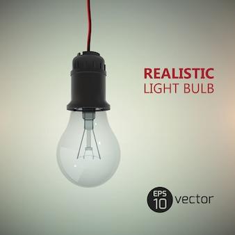Modello creativo con lampadina appesa al filo elettrico con testo modificabile sull'illustrazione gradiente