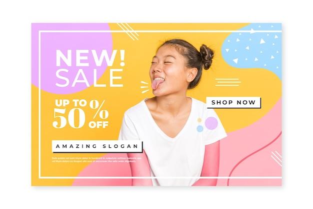 Modello creativo della pagina iniziale di vendita di modo con la foto