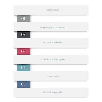 Modello creativo di web design di infographics con le bandiere bianche