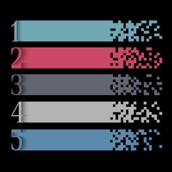 Modello creativo di web design di infographics con le bandiere del pixel
