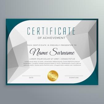 Modello creativo semplice disegno di certificato con la figura astratta