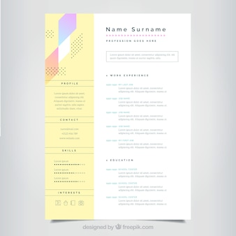 Modello curriculum minimalista con stili colorati