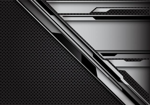 Modello cyber d'acciaio sul fondo della maglia del cerchio grigio scuro.