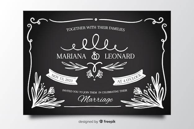 Modello d'annata della partecipazione di nozze sulla lavagna
