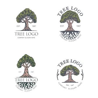 Modello d'annata di progettazione di logo dell'illustrazione dell'albero